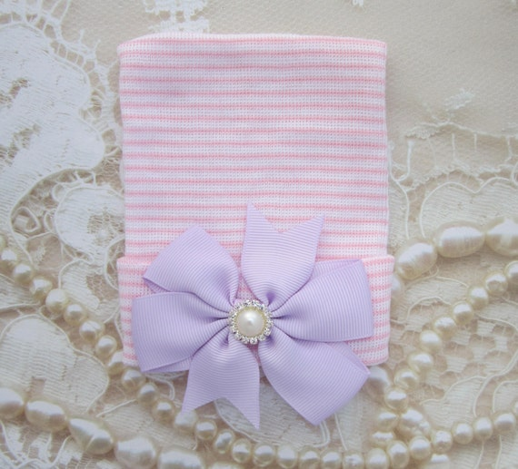 Newborn Hospital Hat, Pink & White Stripe with a Lavender Grosgrain Bow, baby hat, Infant teenie hat by Lil Miss Sweet Pea Boutique