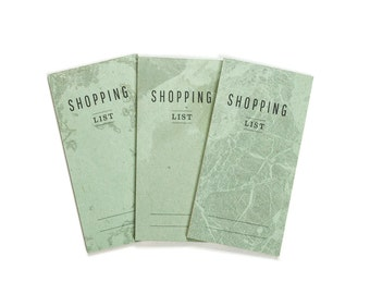 notepad SHOPPING list -Lot of 3 - pastel green marble pattern - SHO7003G