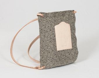 Rectangular Black  Backpack - black beige natural leather - RBP01031