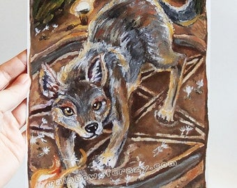 Clearance Sale: Magician Tarot Card, Coyote Print, Wolf Picture, Animal Illustration, Four Elements, Animism Tarot Deck