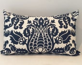 "18""X12"" Navy and Cream Damask Pillow Cover"