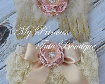 Newborn Gold With Pink Wings, Newborn Photo Props, Newborn Angel Wings, Newborn Flower Headband, Baby Angel Wings, Baby Photography Props