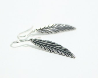 Sterling Silver Leaf Earrings / Nature Earrings / Simple Dangle Drop Earrings / Botanical Jewelry