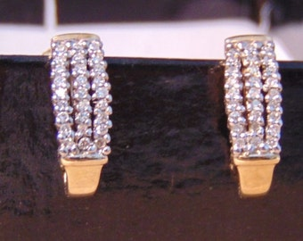 Vintage Diamond 10K .50 Carats Post Earrings, Yellow Gold, Studs, Threaded Posts,