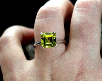 Yellow Sapphire Engagement Ring Princess Cut Solitaire Phoebe 3.5 4 ct 9mm Custom Size White-Yellow-Rose Gold-10k-14k-18k-Platinum