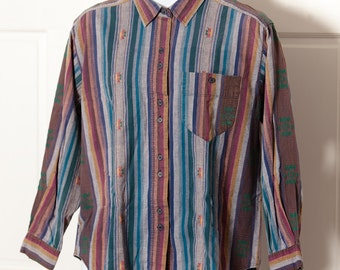 Vintage 80s 90s Men's Button Down Shirt - BACKROAD BLUES - southwest  style - L