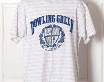 Vintage 80s 90s BOWLING GREEN University Tshirt - white gray vertical stripe