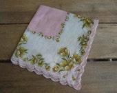 Pink Floral Ladies Handkerchief, Women's Floral Hankie, Gift for Her, Pocket Hankie, Wedding Hankie, Hanky