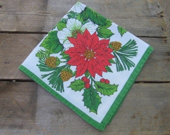 Christmas Poinsettia Napkins, Set of 4, Cotton Blend, Red Green White, Holiday Napkin, Table Linens