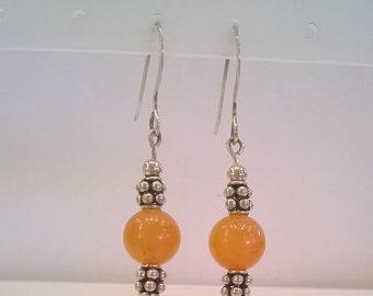 Cinnamon Orange Aventurine Bead and Sterling Silver Earrings - Fall Winter Earrings