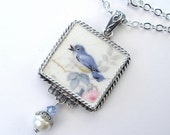 Broken China Jewelry Charming Bluebird of Happiness Pendant Necklace Vintage Charm Blue Bird Porcelain Jewelry by Charmedware