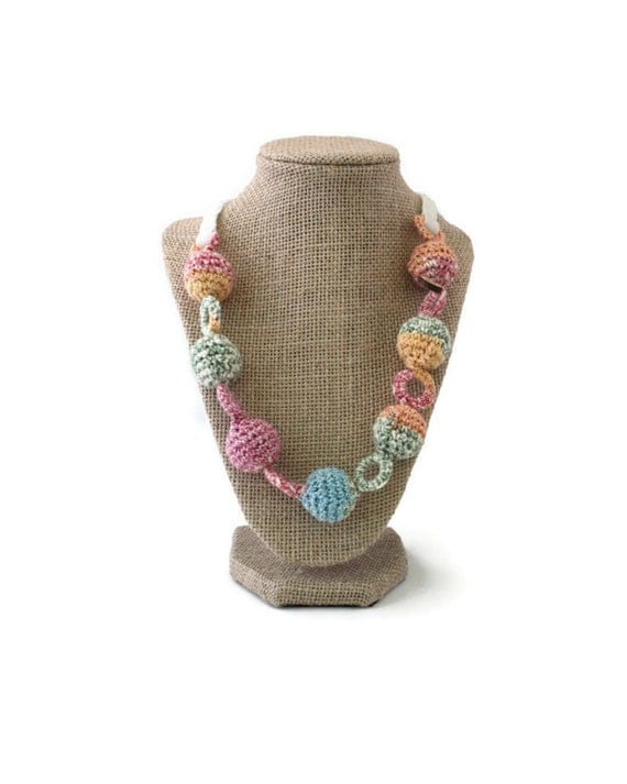 Crochet Bead Necklace - Long Necklace - Crochet Jewelry - Gift for Her - Fiber Necklace - Vegan Necklace - Colorful Necklace - Boho Necklace