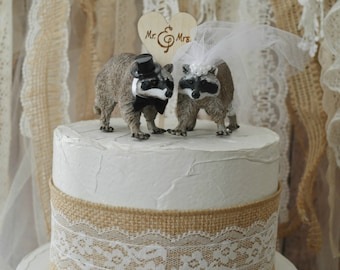 Raccoon bride and groom animal wedding cake topper woodland raccoon lover country weddings Mr &Mrs wood wedding sign ivory veil cake topper