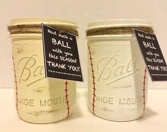 Baseball Mason Jar, Baseball Coach Gift, Hand Painted Baseball Jar, Thank you Coach gift, Baseball Team Gift, Hand Painted Mason Jar, Gift