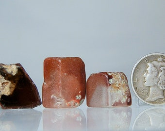 Collectible Mineral Topaz Crystals Lot of 3 Lapidary Rough Mexican Clear Topaz 88.45 total carats Red Staining Crystal Pieces Natural Facets