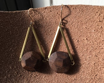 Wooden Pentagon Drop Earrings