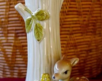 vintage bud vase ceramic with deer Japan