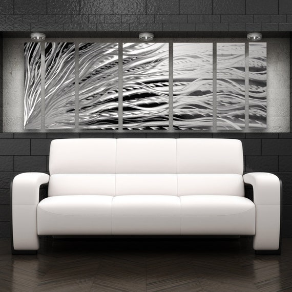 Large Metal Wall Art Sculpture Silver Wall Art Modern Abstract