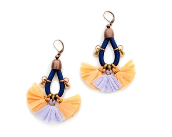 Tassel Earrings, Raffia Earrings, Fan Earrings, Dark Blue and Apricot, Hippie Chandeliers, Bohochic Earrings, Large Earrings