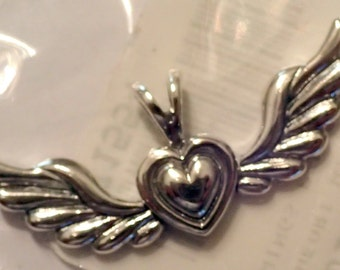 Sterling Heart with Wings Pendant