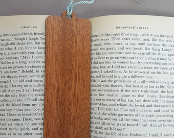 Wood Bookmark - Laser Engraved Mahogany Wood -Blank Hardwood Book Mark