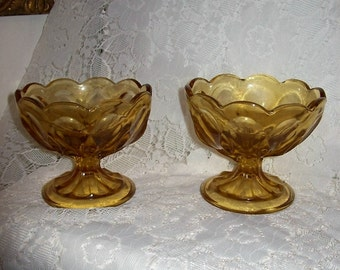 SALE 50% Off Vintage Amber Glass Sherbet w/ Scalloped Edges Fairfield by Anchor Hocking Pair Now 2.50 USD