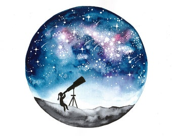 Original watercolor painting Stargazer girl and telescope Stargazing galaxy stars Night sky Astronomy Celestial Nursery science art