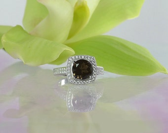 Black gemstone ring, Smokey Quartz Ring, Black Gemstone Sterling Ring, Sterling Silver, Silver Gemstone Ring