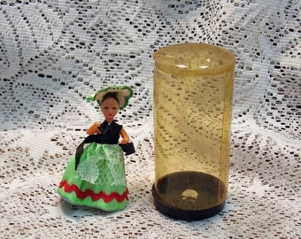 Tiny Vintage Doll with Green Costume Doll House Nationality Doll