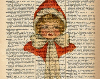 Dictionary Art Print - Christmas Elf Girl -  Upcycled Vintage Dictionary Page Poster Print - Size 8x10