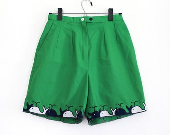 1970s 1980s Green Whale Shorts / Green, Navy Blue and White High Waist Pleated Shorts / Small Medium