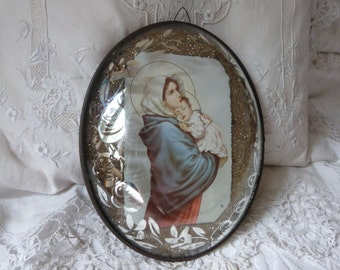 Vintage French religious frame Madonna and child Jesus, our lady of Lourdes Holy virgin Mary holy mother frame w dome glass w silver roses