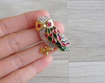 Vintage 80's Gold Enamel Owl Brooch Pin