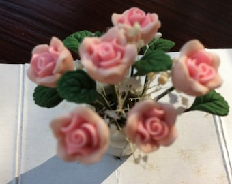 Dollhouse Bouquet in Ceramic Pot, Pink Roses,  1.5  Inches Tall