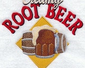 Creamy Root Beer Embroidered on Kona Cotton Quilt Block // Plain Weave Cotton Dish Towel // Also Available on Other Items