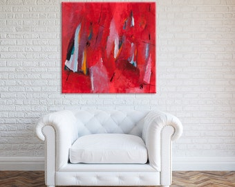 "Large Wall Art Bold Red ABSTRACT Print on Canvas art Abstract Art, Modern Art ready to hang option 40x40"" by Duealberi"