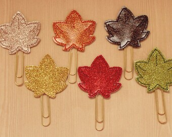 Fall Leaf glitter vinyl planner paperclip, bookmark, Maple leaf on choice of glitter vinyl paperclip, Autumn planner paperclip accessories