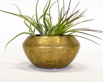Etched Brass Bowl / Pot / Planter, Made in India, Vintage Boho Decor