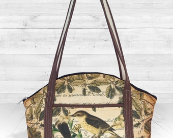 Medium Shoulder Bag printed canvas mixed with vegan leather, exclusive design.