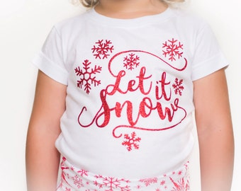 Girl Christmas Shirt - Let it Snow Red Glitter - Holiday Shirt - Baby Girl Christmas Shirt - Snowflake Shirt - 12m 18m 2T 3T 4T 5 6 7