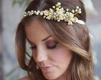 SALE Gold Leaf Bridal Hair Vine, Wedding Laurel Greek Crystal Headband, Boho Bohemian Headpiece with gold metal leaves