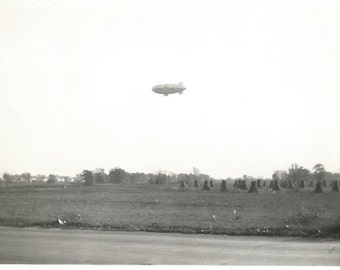 "Vintage Snapshot ""Getting The Mail"" Goodyear Blimp Flies Over Rural America - 1947 Found Vernacular Photo - Dirigble"