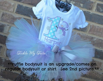 Winter ONEderland Lilac and Aqua Snowman Winter Themed Birthday Tutu Outfit-Snowman Birthday Outfit *Comes on Non-Ruffle Bodysuit/Shirt*