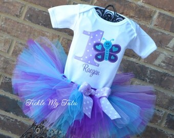 Butterfly Birthday Tutu Outfit-Butterfly Birthday Tutu Set-First Birthday Butterfly Outfit-Butterfly Party Outfit