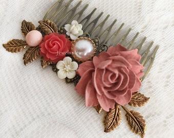 Raspberry Pink Hair Comb Red Wedding Hair Accessories Elegant Bridal Hair Slide Bohemian Chic Flower Hair Adornment Modern Bride Hair Pin