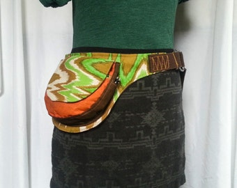 Orange Brown and Green chevron upcycled utility belt fanny pack