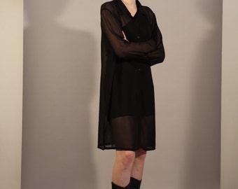 1990s sheer black oversized shirt dress