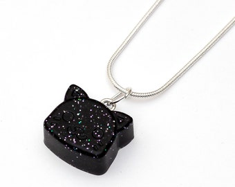 Space Cat Necklace - resin jewelry, black, nebula jewelry, galaxy pendant, hipster, galaxies, space, hipster, animals, galaxy animal