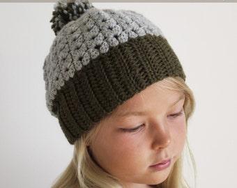 Crochet Pattern: The Shiloh Beanie -Toddler, Child, &  Adult Sizes-beanie puff stitch pom pom fall