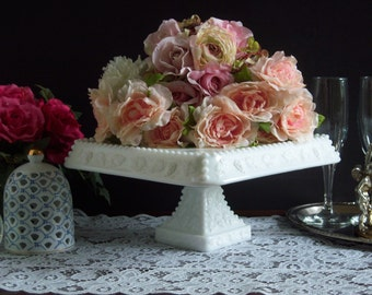 Westmoreland Square Milk Glass Cake Stand  - Westmoreland Beaded Edge Cake Stand - Wedding Cake Stand - Westmoreland Paneled Grape